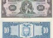 Vendo billetes antiguos de 10 sucres en buen estado nuevos precio muy razonable