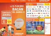 Television satelital a solo 11.99 usd de univisa, canales en hd, instalación gratis