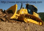 Volquetas, excavadora, motoniveladoras, retroexcavadora, rodillos compactadores, cargadores.