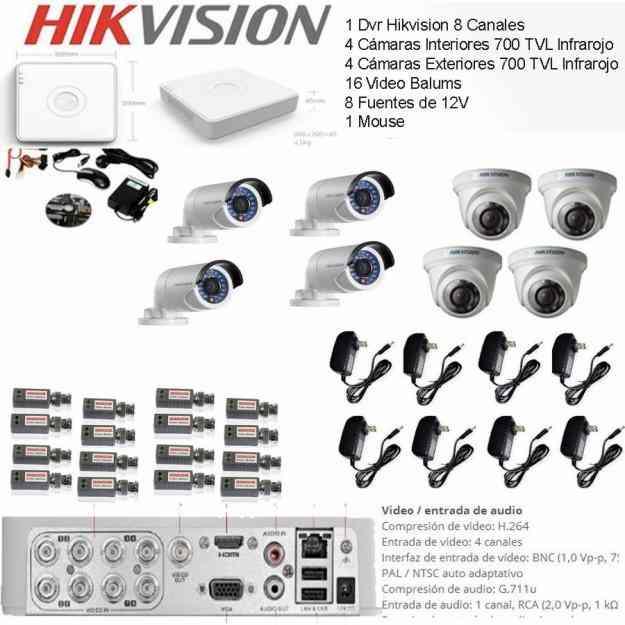 Kit Cctv Hikvision Dvr 8 Canales 4 Cámaras