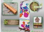 Vendo letrero, pancarta, banner tipo roll up en bambú ecológico