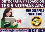 0983713022 tesis maestrias revisión de redacción y gramática, estilo y formato apa proyectos