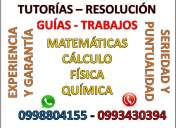 Matematicas, calculo,  fisica o quimica, clases a domicilio y desarrollo de tareas