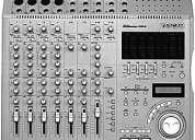 consola tascam grabadora a md, pedalera dod vofx, microfonos shure, sennheiser