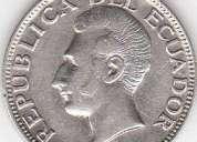Monedas ecuatorianas antiguas de 1928 de plata 720