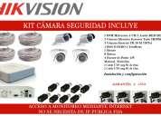 Cámaras de seguridad ,4 cámaras hikvision  + dvr + instalación