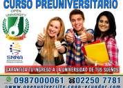 Aprueba el examen  enes. curso preuniversitario para el examen de la senescyt. curso economico