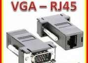 adaptador convertidor de video de vga macho a rj45 para usar con utp hasta 30mts de distancia