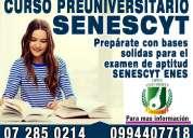 Curso preuniversitario de preparacion para estudiantes de colegio para el examen de la senescyt
