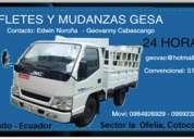 Mudanzas y fletes camiones y camionetas 24 horas 0984590105