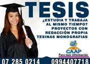 Asesoría para tesis de postgrado en cuenca, proyectos, maestrias y redacción de trabajos 099440771