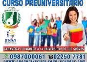Asegura tu ingreso a la universidad de tus sueños examen enes de la senescyt curso preuniversitario