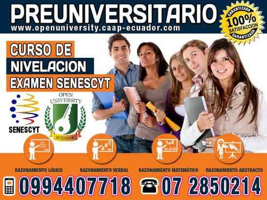Curso preuniversitario para aprobar el examen ENES de la Senescyt para ingresar a la Universidad