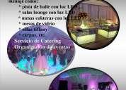 Alquiler de pista led, mesas de vidrio, sillas tiffany servicio de catering