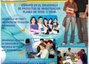 Asesoría en el desarrollo de planes de tesis, tesis y proyectos de investigación