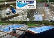 Construcción de piscinas, piscinas  aquacorp, saunas, turcos, mantenimiento de piscinas,