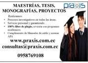 Realización de tesis, proyectos y de monografías