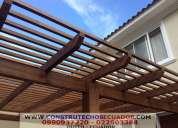 Pergolas de madera y hierro con policarbonato