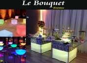 Banquetes-alquiler pista led, mesas de vidrio, sillas tiffany, carpas, etc.