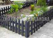 Cerca para jardín de madera plástica
