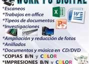 Se realizan trabajos para estudiantes y oficinas.