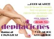 Cosmetologa freelance depilaciones a domicilio! desde $5!!