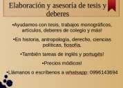 Asesorías, tutorías y elaobraciones de tesis, monografías y deberes
