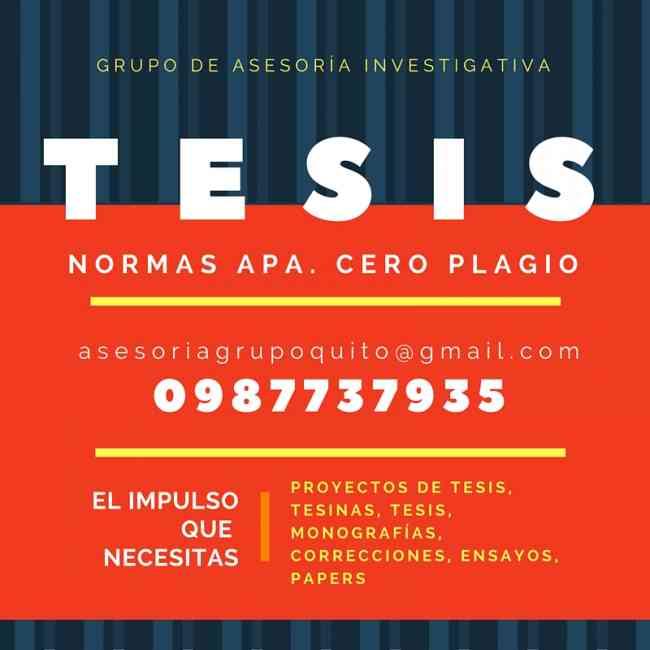 TESIS PROYECTOS, ASESORÍA DE  CALIDAD