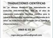 Licenciado en idiomas modernos. traducción de documentos científicos