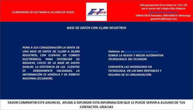 VENTA DE BASE DE DATOS CON CORREOS ELECTRONICOS