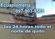 Plomero fontanero gasfitero en cobre norte de quito plomeria en general 24 horas a su servicio