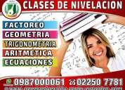 Cursos nivelación académica, clases de matematicas, física, quimica, deberes, trabajos 0987000061