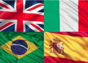 Curso de idiomas english, espaÑol, italiano, portuguÉs