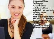 Solicito personal para ayudante de oficinas sin experiencia