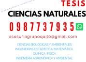 Elaboramos tesis de ciencias naturales, del ambiente, biologÍa, quÍmica, agronÓmica