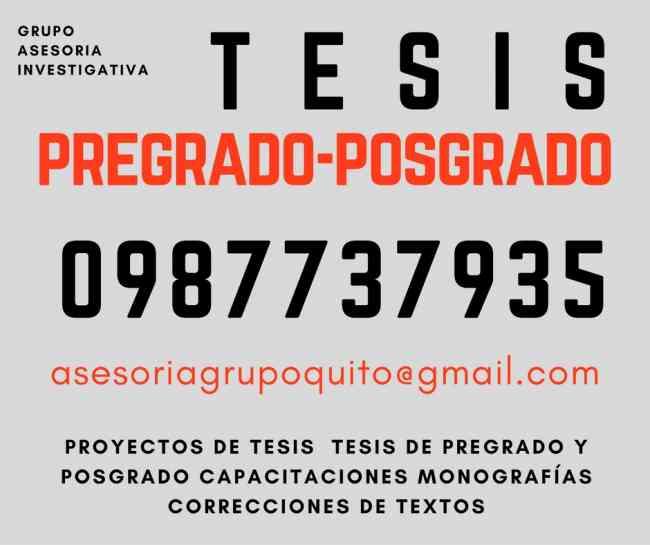 ELABORACIÓN Y CORRECCIÓN DE TESIS. POSGRADOS...