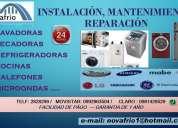 Reparacion, instalacion, mantenimiento,de lavadoras,licuadoras, sercadoras, cocinas, calefones, etc