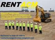 Rentacm requiere operadores con experiencia en maquinaria pesada