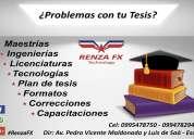 Tesis, asesorÍas, planes de tesis, correcciones y capacitaciones.
