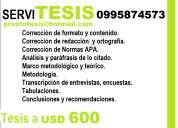 Asesoría de tesis proyectos y maestrías. usd 600.