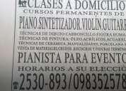 Clases a domicilio de piano violin o guitarra
