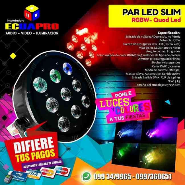 VENTA DE PAR LED SLIM RGBW - QUAD LED