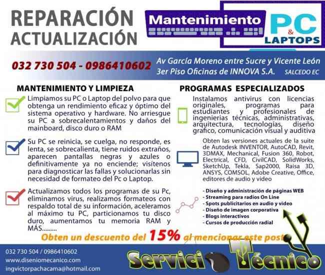 Actualización, Mantenimiento y Reparación de Pc Y Laptops