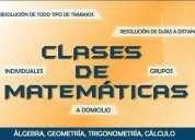 Clases a domicilio en las materias de: física, matemáticas, geometría