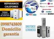 0992570623realiza reparaciones calefones, refrigeradoras, secadoras, frigorificos, hornos lavadoras