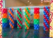 Decoraciones, torres de globos con helio