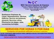Servicio de limpieza oficinas, casas, departamentos (por horas o dias)