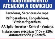 Instalacion, reparación y mantenimiento de lavadoras, neveras, a/a split