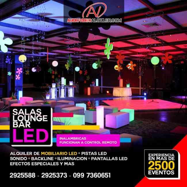 Alquiler de salas Lounge, pistas LED, barra LED