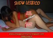 Trios con show lesbico en manta